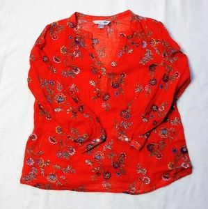 Old Navy Tunic Shirt Boho Floral Popover Top